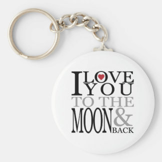 Love You To the Moon Basic Round Button Key Ring