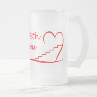 Love You, with you together the stairs up Frosted Glass Beer Mug