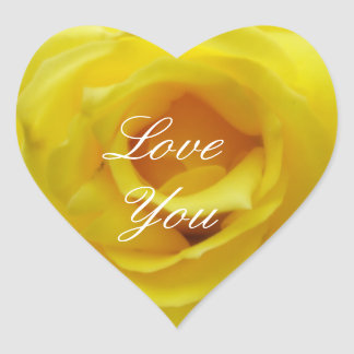 Love You Yellow Rose Heart Sticker