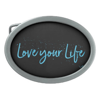 Love-your-Life-Typography-blue Oval Belt Buckle