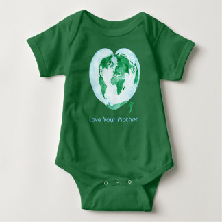 Love Your Mother Earth Green Baby Bodysuit