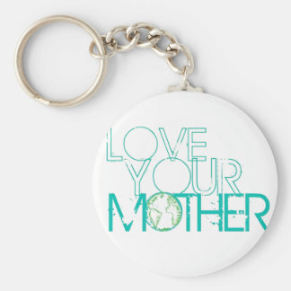 """""""Love Your Mother"""" Earth Vintage Basic Round Button Key Ring"""