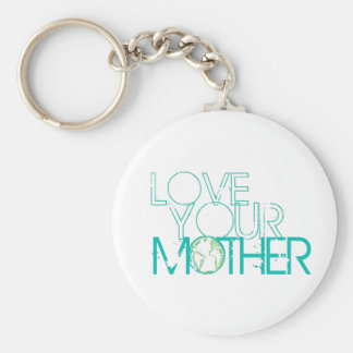"""Love Your Mother"" Earth Vintage Basic Round Button Key Ring"