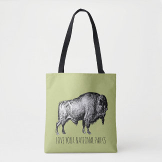 Love Your National Parks Buffalo Tote Bag