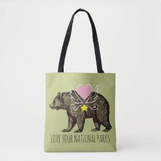 Love Your National Parks Grizzly Bear Tote Bag
