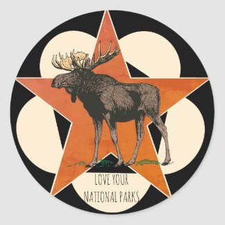 Love Your National Parks Moose Classic Round Sticker
