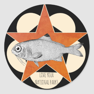 Love Your National Parks Mountain Fish Classic Round Sticker