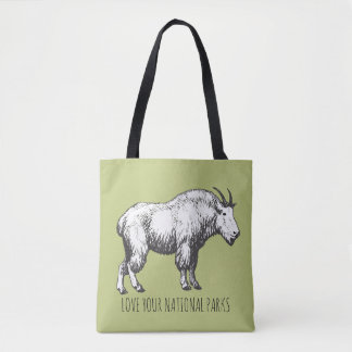 Love Your National Parks Mountain Goat Tote Bag