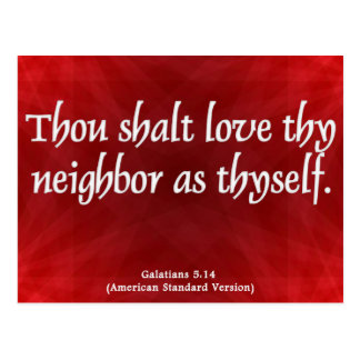 Love Your Neighbor Galatians 5:14 Postcard