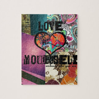 Love Yourself Inspirational Digital Collage Jigsaw Puzzle