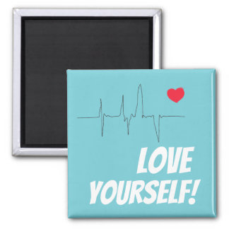 Love Yourself Red Heart Pulse Rate Magnet
