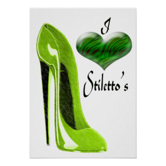 Love Zesty Lime Green Stiletto Shoe and 3D Heart   Poster