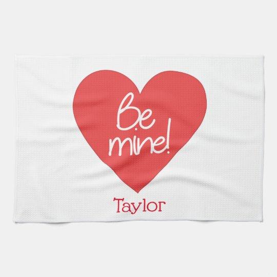 Loveable Red Heart Be Mine Tea Towel