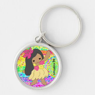 Loveables Hula Dancer Girl Silver-Colored Round Key Ring