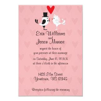 Lovebird Bride and Groom Wedding Invitation