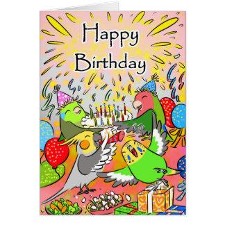 Lovebird budgie cockatiel parrotlet happy birthday card