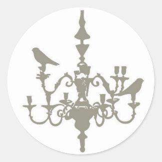 Lovebird Chandelier Classic Round Sticker