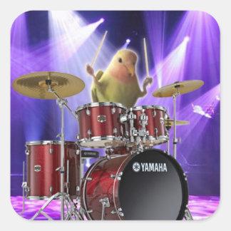 Lovebird Drummer Square Sticker