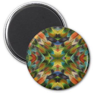 Lovebird feather kaleidoscope 6 cm round magnet