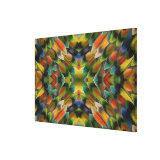 Lovebird feather kaleidoscope canvas print