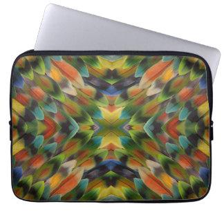 Lovebird feather kaleidoscope computer sleeve