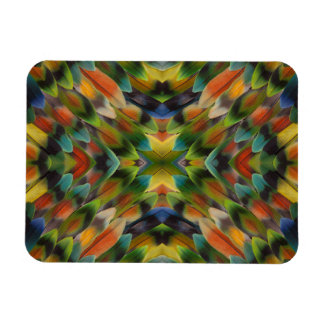 Lovebird feather kaleidoscope rectangular photo magnet