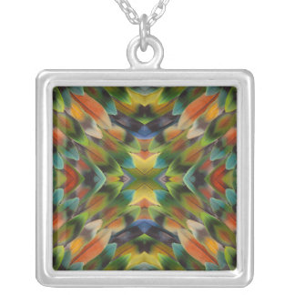 Lovebird feather kaleidoscope silver plated necklace