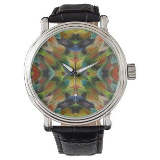 Lovebird feather kaleidoscope watch