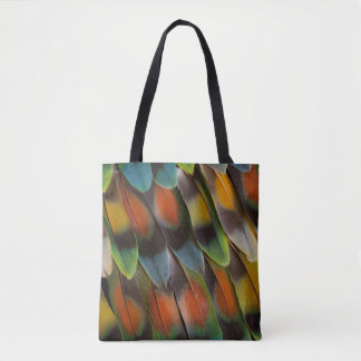 Lovebird Feather Pattern Tote Bag