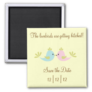 Lovebird Save The Date Square Magnet