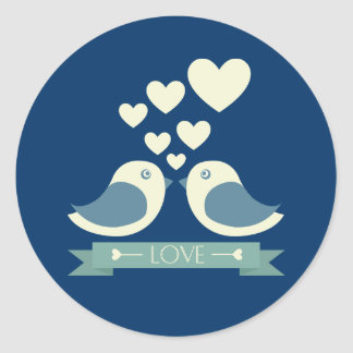 Lovebirds and Hearts Blue Love Sticker / Seal