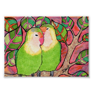 Lovebirds at Sunset Mini Folk Art Poster