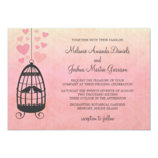 "Lovebirds Birdcage Wedding Invitation 5"" X 7"" Invitation Card"