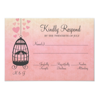 "Lovebirds Birdcage Wedding RSVP Card 3.5"" X 5"" Invitation Card"