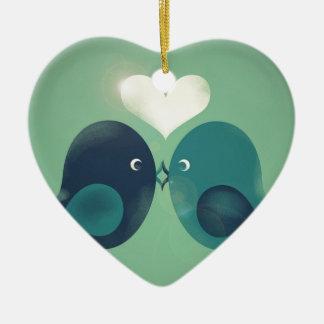 Lovebirds Ceramic Heart Decoration
