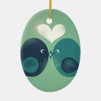 Lovebirds Ceramic Oval Decoration