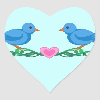 Lovebirds Heart Shaped Stickers/Envelope Seals Heart Sticker