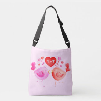 Lovebirds heart watercolor art custom tote bag