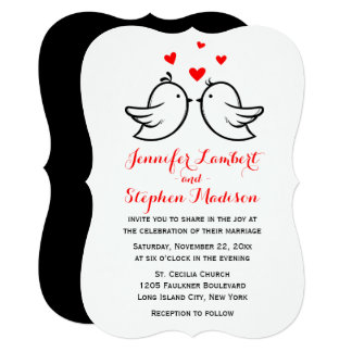 Lovebirds & Hearts Red And Black Wedding Card