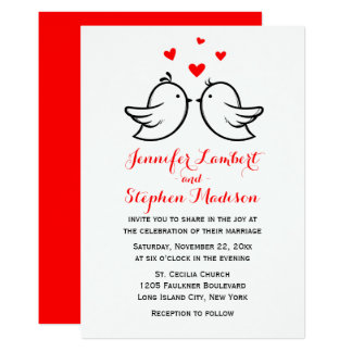 Lovebirds & Hearts Red And White Wedding Card