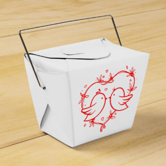 Lovebirds & Hearts Red and White Wedding Party Favour Box
