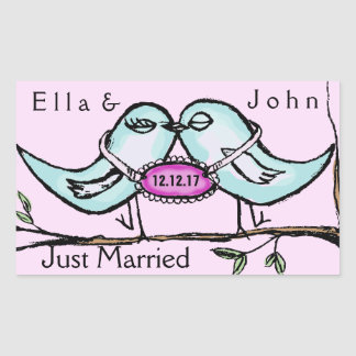 Lovebirds Just Married Rectangular Sticker