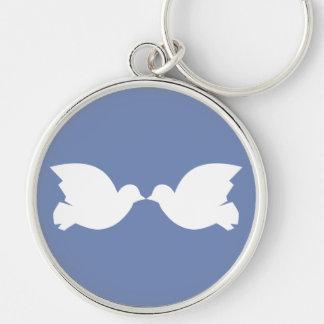 Lovebirds / Large (5.4 cm) Premium Round Key Ring