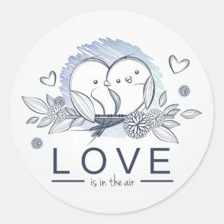 Lovebirds Love Is In Air Blue Wedding / Business Classic Round Sticker
