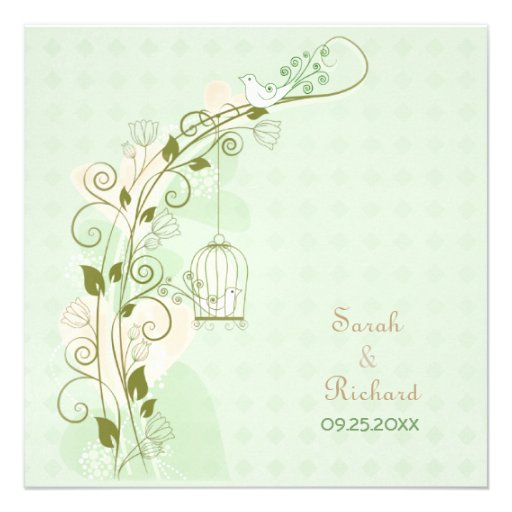 Lovebirds Mint Wedding Invitation Personalized Announcement