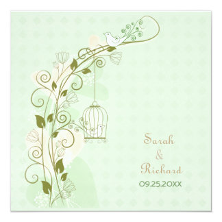 Lovebirds Mint Wedding Invitation Personalized Announcement
