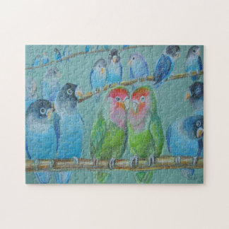 Lovebirds oil pastel jigsaw puzzle