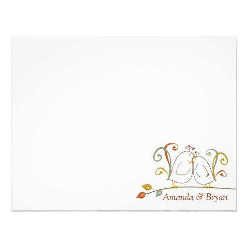 Lovebirds on Branches Stationery Notecards Personalized Announcements