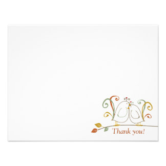 Lovebirds on Branches Thank You Notecards Custom Announcements