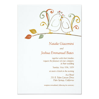 Lovebirds on Branches Wedding Invitations